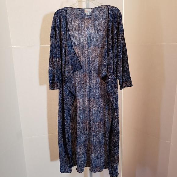 LuLaRoe Jackets & Blazers - LulaRoe blue short sleeve duster sz M